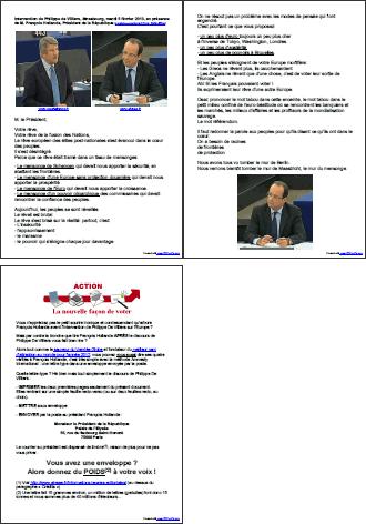 Intervention de Philippe de Villiers, Strasbourg, mardi 5 février 2013, en présence de M. François Hollande, Président de la République + mode d'emploi - PDF 3 pages