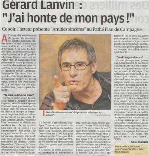lettre gerard lanvin Lettre ouverte de Gérard LANVIN | Francaisdefrance's Blog lettre gerard lanvin
