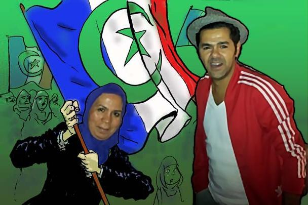ce que je vois désormais quand apparaît sur mon écran TV Latifa _foulard_ Ibn Ziaten : Latifa _foulard_ Ibn Ziaten brandissant le Drapeau de la république islamique Française (Francistan) aux côtés d'un Jamel Debbouze hilare