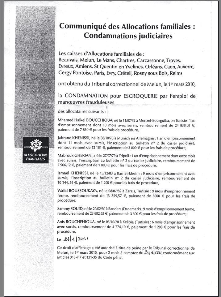 00000   CONDAMNATIONS CAF