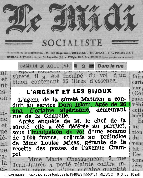 Déjà, en 1940, à Toulouse... - Extrait de la page 2 du quotidien Le Midi Socialiste du samedi 10 août 1940, rubrique _Dans la rue_