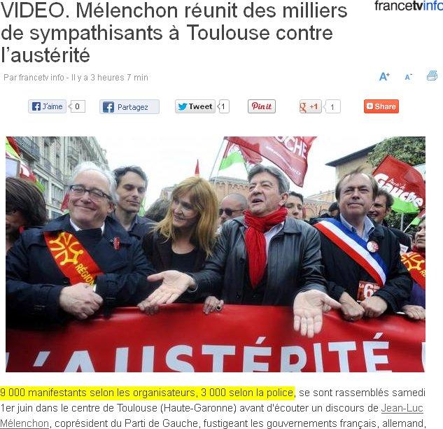 Mélenchon réunit des milliers de sympathisants à Toulouse contre l'austérité  - 9 000 manifestants selon les organisateurs, 3 000 selon la police, se sont rassemblés samedi 1er juin dans le centre de Toulouse (Haute-Garonne) avant d'écouter un discours de Jean-Luc Mélenchon, coprésident du Parti de Gauche, fustigeant les gouvernements français, allemand, l'Europe et la finance.