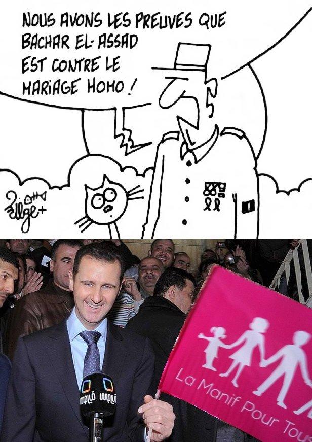 Dessin de Miège (légèrement modifié) : un militaire qui déclare _Nous avons les preuves que bachar el-assad est contre le mariage homo !_ La preuve, dessous : une photo, visiblement trafiquée, où l'on voit bachar_el-assad tenant un drapeau de La Manif Pour Tous...